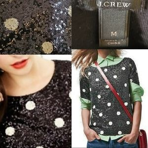 JCREW BLACK LABEL SEQUIN POLKA DOT BLACK DOTS TOP
